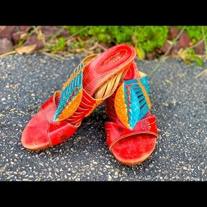Spring Step L'artiste Boho leather heel slides